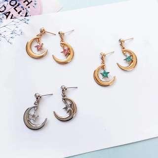Ready Stock! Korean Cute Moon & Star Diamond Earrings/ Sailor Moon Theme