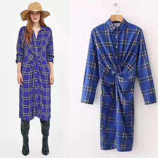 Europe Station fold plaid long gown dress