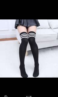 High double dual white stripe socks black