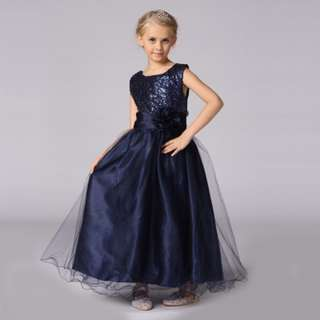 Dark Blue Shimmer Long Gown Wedding Flower Girls Dress Birthday Gifts