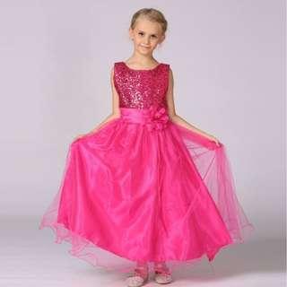 Princess Dress Hot Pink Shimmer Long Gown Wedding Flower Girls