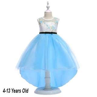 Blue FishTail Long Gown Dress Wedding Flower Girls 4-13 Years Old