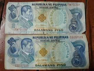 Old Philippine 2 peso bill