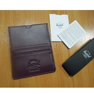 AUTHENTIC Herschel Supply Co. Leather eugene wallet passport holder travel case burgundy dark red