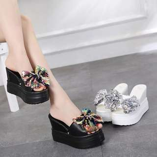 2018 summer female slippers fashion Europe and US 12cm with bows wild slippers