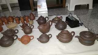Ancient antique Chinese pottery tea pot collection