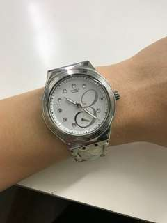 Swatch Leather Watch with Date Display