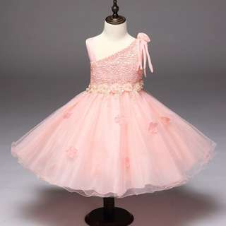 Sweet Pink Girl Princess Puff Dress 3-10 Years Old