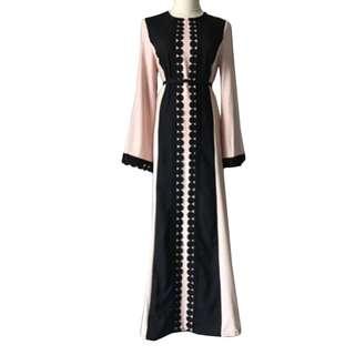 PO Vintage Women Slim Summer Casual Dress Long Abaya Sleeve Soft Dress For Kaftan Islamic MuslimTurkish Arabic Appliques