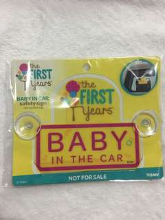 BABY IN THE CAR safety sign with suction cups