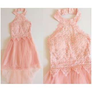 Embroidered Halter Prom Dress