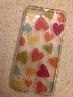 iPhone 7 plus Case 透明膠殼 彩色心心