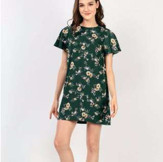 Dressabelle Green Floral Dress