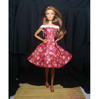Red Floral Sunday Dress March 2018 Collection Barbie Clothes