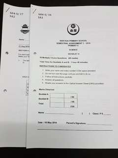 P6 2014 top school science SA1 and Prelims papers