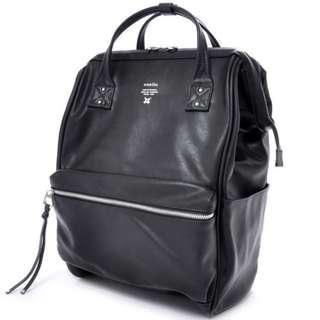 全新Anello 黑色光面皮革背包背囊