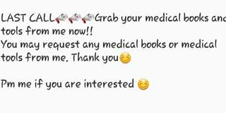 LAST ORDER for Medical textbook and tools