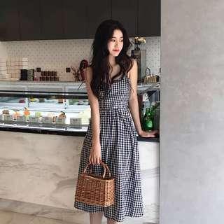 [PO] Gingham Ribbon Back Midi Dress