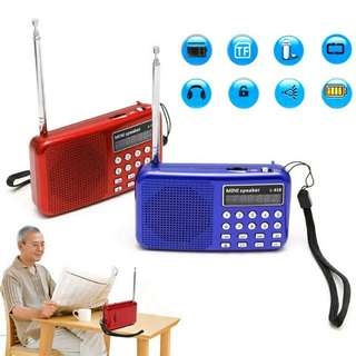 Mini LCD Digital Audio FM Radio Speaker USB Micro SD TF Card MP3 Music Player