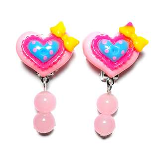 Kids Earrings - Handmade Korean Style Pink Heart Bow Bead Dropping Dangling Resin Pain Relief Safety Earring Clip For Kids
