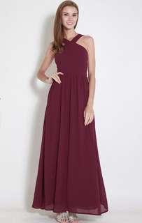 Maxi Bridesmaid dress in Wine