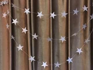 4m silver non glitter star garland