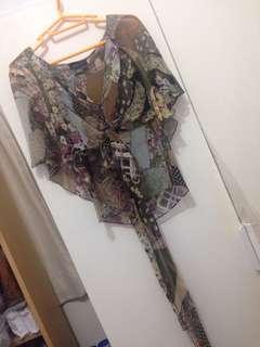 BCBG silk chiffon Patchwork printed top fits xs