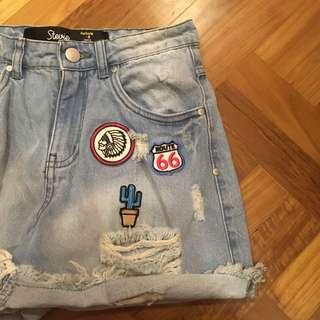 bn factorie patched highwaist shorts