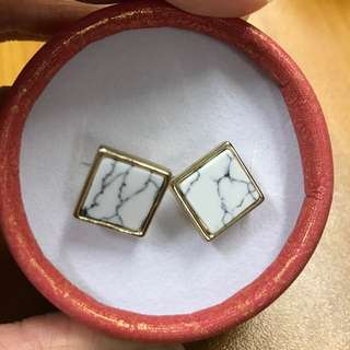 大理石方型耳環