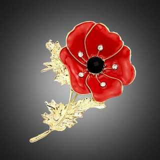 Red Poppy Flower Crystals Elegant Collar Scarf Bag Pin Brooch