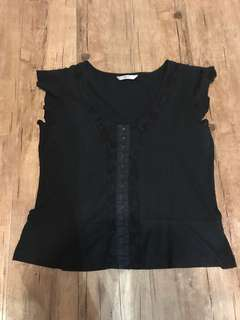 Marks & Spencers Black Top with Lace Details