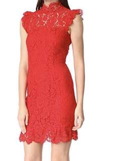 Aijek Into the Night red lace dress in size 2