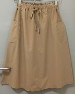 Made in Korea 卡其色文青斯文裙 中長半身裙