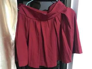 Heather 紅色百摺短裙