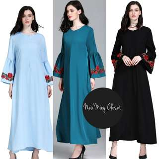 Bell Sleeve Floral Embroidery Long Maxi Dress Jubah