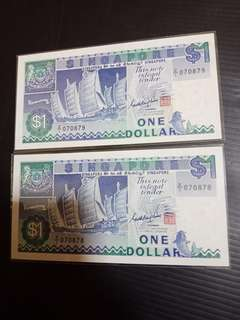Singapore Ship Series $1 Run 2pcs Replacement Note