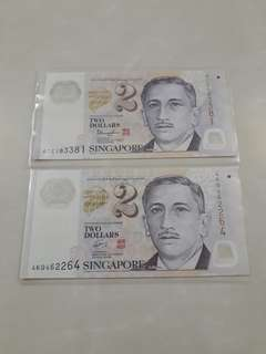 $2 Dollars Used Notes