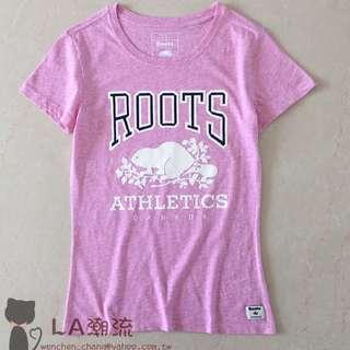 【LA 潮流】特價 ! 加拿大海狸 ROOTS 新款字母logo 女 有機棉運動休閒舒適透氣短袖上衣 TEE-粉紅!