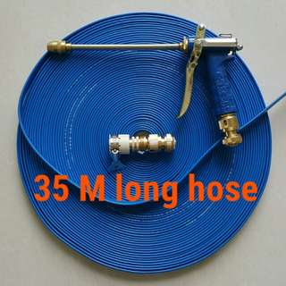 """Charm blue spray gun head (High pressure) with 35 M long foldable hose (The inside diameter is 1/2"""" about 12.5mm )"""
