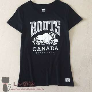 【LA 潮流】特價 ! 加拿大海狸 ROOTS 新款字母logo 女 有機棉運動休閒舒適透氣短袖上衣 TEE-黑 !