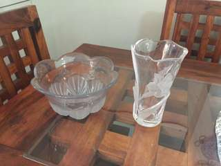 Crystal Serving Bowl and Vase Duo