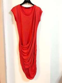 🚚 美國【BCBG】橘紅色裙抓皺連身洋裝S