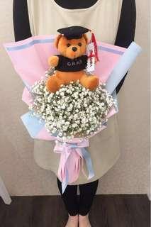 Graduation Bear baby breath bouquet Customisable