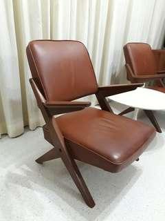 vintage K-leg teakwood armchairs