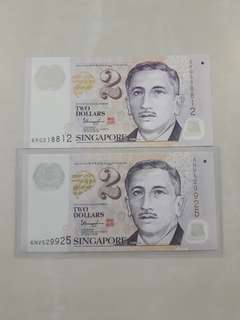 $2 Dollars UNC Nice Numbers Notes