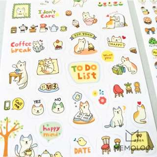 6pcs Cartoon Cat Stickers for Planner, Scrapbooking, Journal or Diary