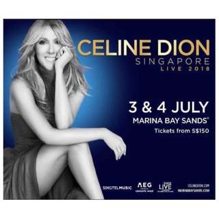 Celine Dion - Pair of tickets 4th July