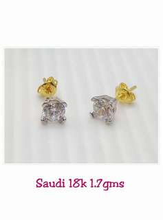 18K Diamond Earring Genuine Gold