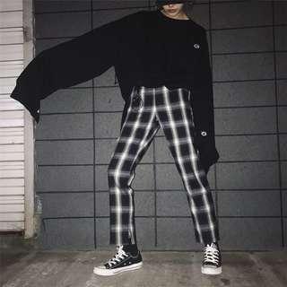 韓版顯瘦百搭格子寬褲