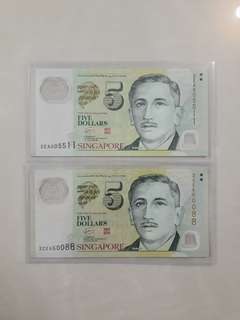 $5 Dollars Nice Numbers Used Notes
